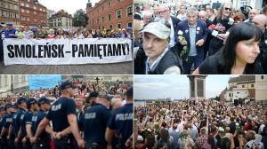 Miesięcznica na Krakowskim, kontrmanifestacja na Zamkowym