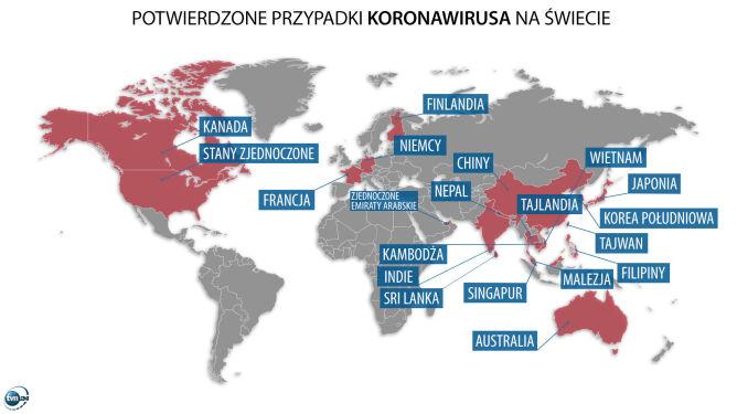 Potwierdzone przypadki nowego koronawirusa na świecie