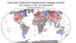 Odchylenia od średniej temperatury w czerwcu (średnią wyliczono na podstawie danych z lat 1981-2010) (NOAA)