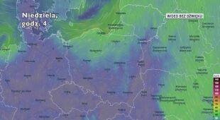 Prognozowane porywy wiatru w następnych dniach (Ventusky.com)